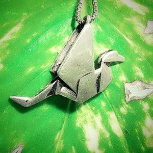 "Vintage Sterling ""Paper Crane""Origami Necklace"